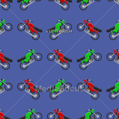 Red Green Sport Bike Seamless Pattern On Blue Background Stock Photo