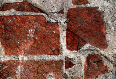 Red Grunge Brickwall Is Dangerous Stock Photo