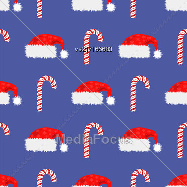 Red Hat And Candy Cane Seamless Pattern. Winter Background Stock Photo