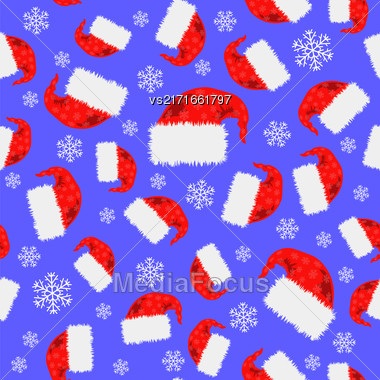 Red Hat And Snowflakes Seamless Pattern. Winter Background Stock Photo