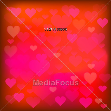 Red Heart Background. Romantic Blurred Red Heart Pattern Stock Photo