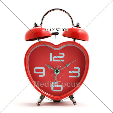 Red Heart Clock With Bell Stock Photo