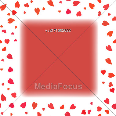 Red Heart Frame On White Background. Symbol Of Valentines Day Stock Photo