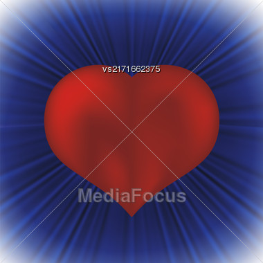 Red Heart Icon On Blue Wave Background Stock Photo
