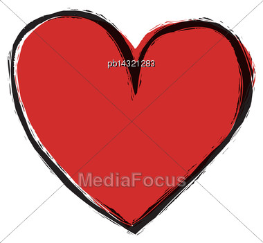 Red Heart On White Background, Vector Stock Photo