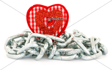 Red Heart Shape With Chains On White Background Stock Photo