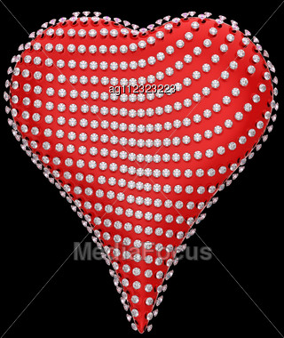 Red Heart Shape Incrusted With Diamonds Over Black Stock Photo