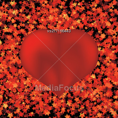 Red Heart Symbol On Red Star Background Stock Photo