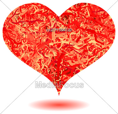 Red Heart Isolated On White Background. Symbol Of Valentines Day Stock Photo
