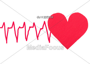 Red Heart With ECG Stock Photo