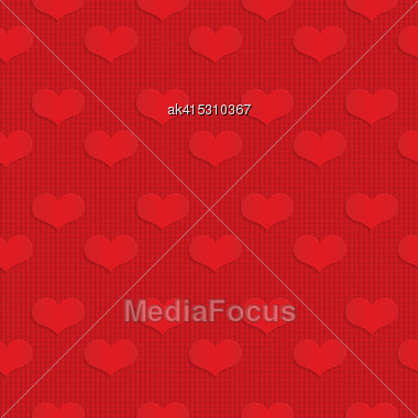 Red Hearts On Checkered Background.Seamless Geometric Background. 3D Layered And Textured Pattern With Realistic Shadow And Cut Out Effect Stock Photo
