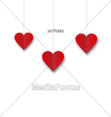 Red Hearts Hanging On Strings On White Background. Valentine S Day Card - Vector Stock Photo