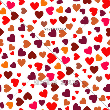 Red Hearts Seamless Pattern. Symbol Of Love Stock Photo