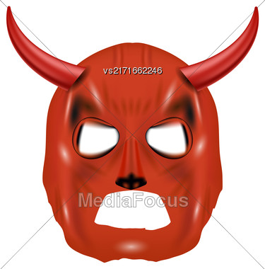 Red Horn Mask Isolated On White Background Stock Photo