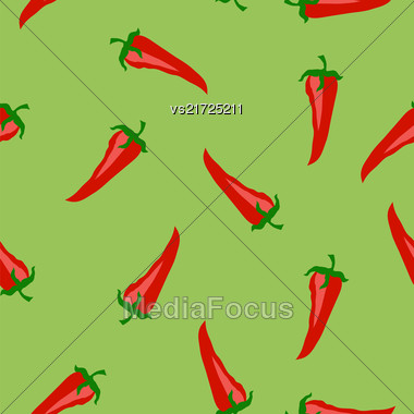 Red Hot Pepper Seamless Pattern Isolated On Green Background Stock Photo