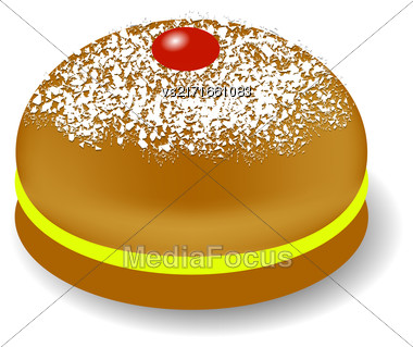 Red Jelly Donuts For Hanukkah Isolated On White Background Stock Photo
