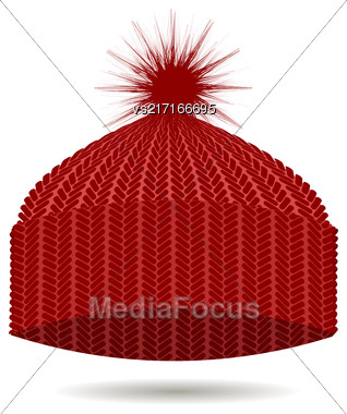 Red Knitted Cap Isolated On White Background. Winter Hat Stock Photo