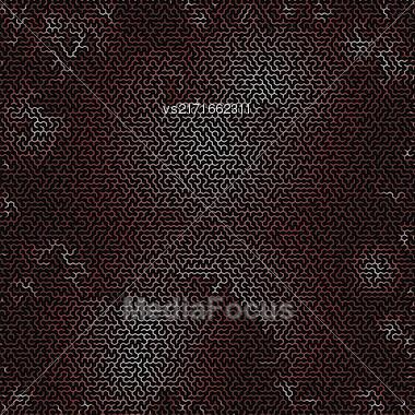 Red Labyrinth On Black Background. Kids Maze Stock Photo