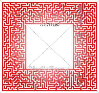 Red Labyrinth Isolated On White Background. Kids Maze Stock Photo