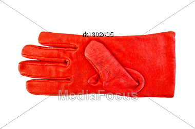 Red Leather Glove Stock Photo