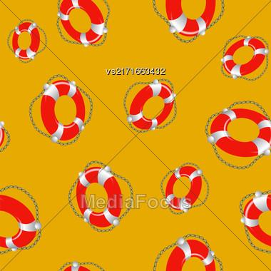 Red Lifebuoy Random Seamless Pattern On Orange Background Stock Photo