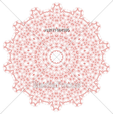 Red Mandala Isolated On White Background. Round Ornament Stock Photo