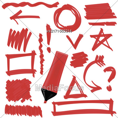 Red Marker Isolated On White Background. Set Of Graphic Signs. Arrows, Circles, Correction Lines Stock Photo