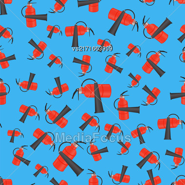 Red Metallic Extinguisher Seamless Pattern On Blue Background Stock Photo