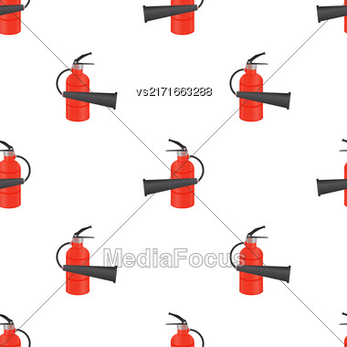 Red Metallic Extinguisher Seamless Pattern On White Background Stock Photo