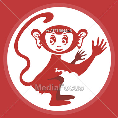 Red Monkey Icon. Symbol Of New 2016 Year Stock Photo