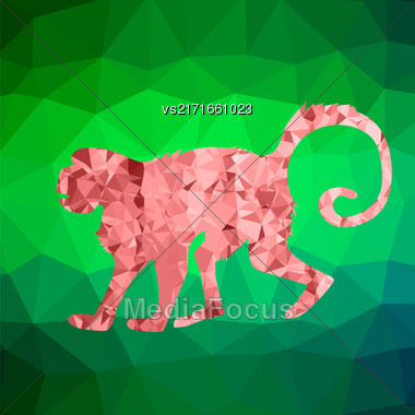 Red Mosaic Monkey Isolated On Green Polygonal Background. Symbol Of Chinese New Year Stock Photo