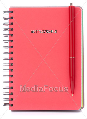 Red Notebook With Black Pen Isolated On White Background Cutout Stock Photo