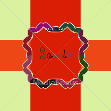Red Orange Vector Ornate Frame With Sample Text. Perfect As Invitation Or Announcement. Background Pattern Is Included As Seamless. All Pieces Are Separate. Easy To Change Colors And Edit. Stock Photo