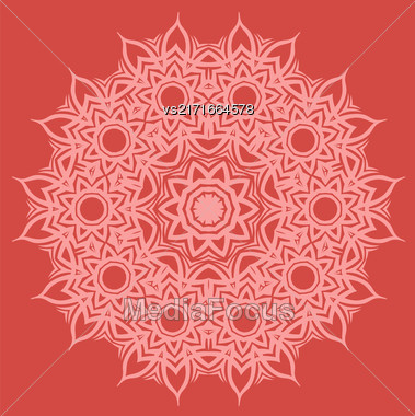 Red Ornamental Line Pattern. Endless Texture. Oriental Geometric Ornament Stock Photo