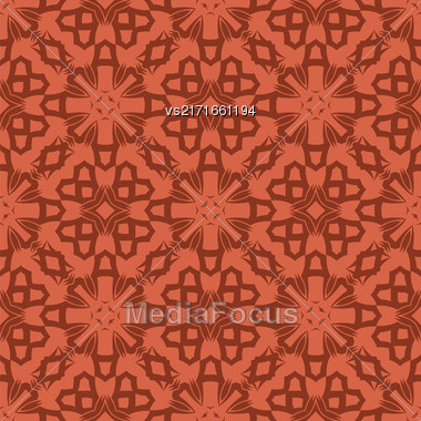 Red Ornamental Seamless Line Pattern. Endless Texture. Oriental Geometric Ornament Stock Photo