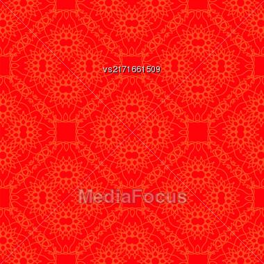 Red Ornamental Seamless Line Pattern. Endless Texture. Oriental Geometric Ornament Stock Photo