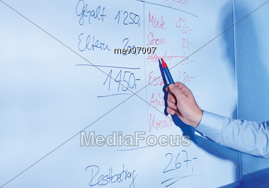 Red Pen, Flip Chart With Revenue and Expenditure Stock Photo