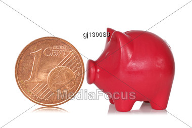 Red Piggy Bank And One Eurocent Stock Photo