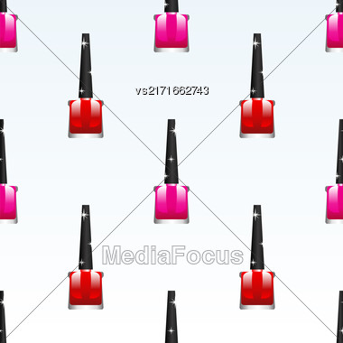 Red Pink Nail Polish Background. Cosmetic Bottles Seamless Pattern Stock Photo