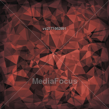 Red Polygonal Background. Red Crystal Triangle Pattern Stock Photo