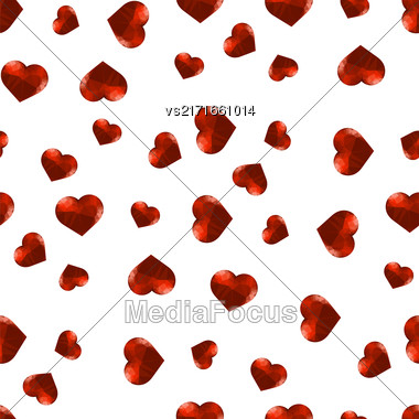 Red Polygonal Heart Random Seamless Pattern On White Background Stock Photo