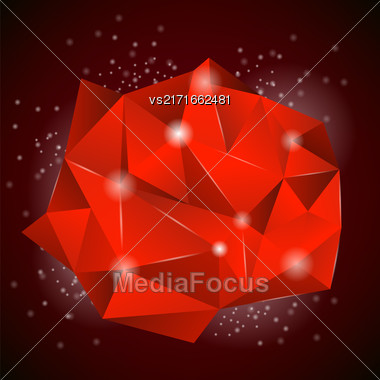 Red Polygonal Stone Isolated On Dark Background Stock Photo