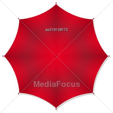 Red Rain Umbrellas. Vector Illustration Stock Photo