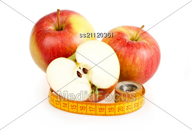 Red Ripe Apple With Measuring Tape Great Diet Concept Stock Photo