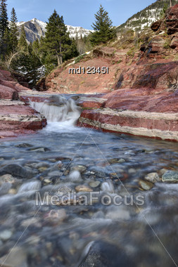 Red Rock Canyon Waterton Park Canada Alberta Stock Photo