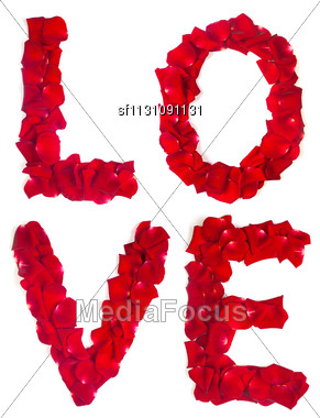 Red Rose Petals Set In Word LOVE Isolated On White Background Stock Photo