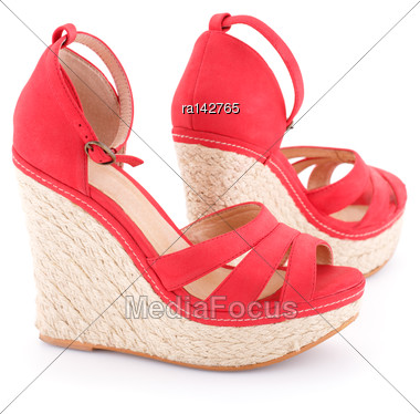 Red Sandals Isolated On White Background Stock Photo