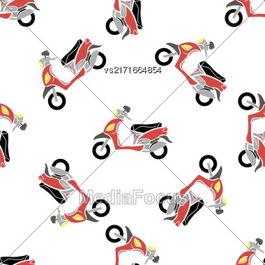 Red Scooters Isolated On White Background. Seamless Bike Pattern Stock Photo