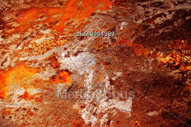 Red Scratched Metal Grunge Surface With Corrosion Stock Photo