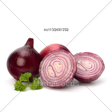 Red Sliced Onion And Fresh Parsley Still Life Isolated On White Background Stock Photo